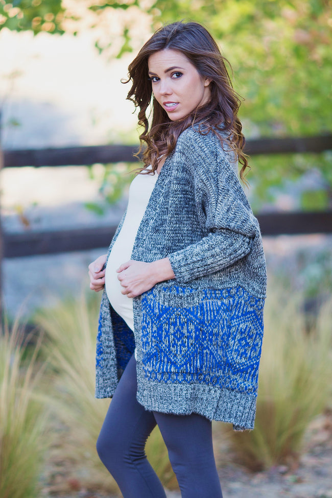 Charcoal Blue Printed Border Knit Maternity Cardigan