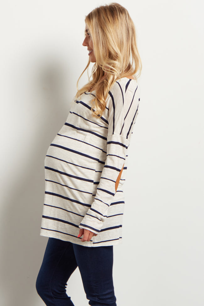 Navy Striped Suede Elbow Maternity Top