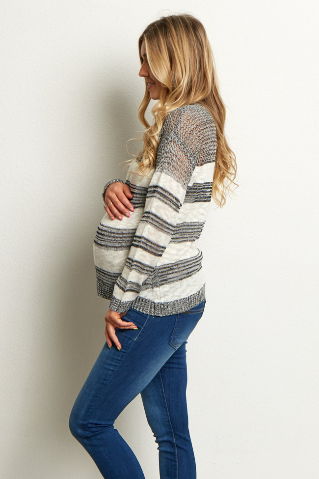 Black White Striped Knit Transitional Maternity Sweater Top