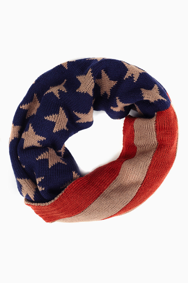 American Flag Knit Infinity Scarf