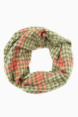 Green Pink Plaid Houndstooth Print Knit Infinity Scarf