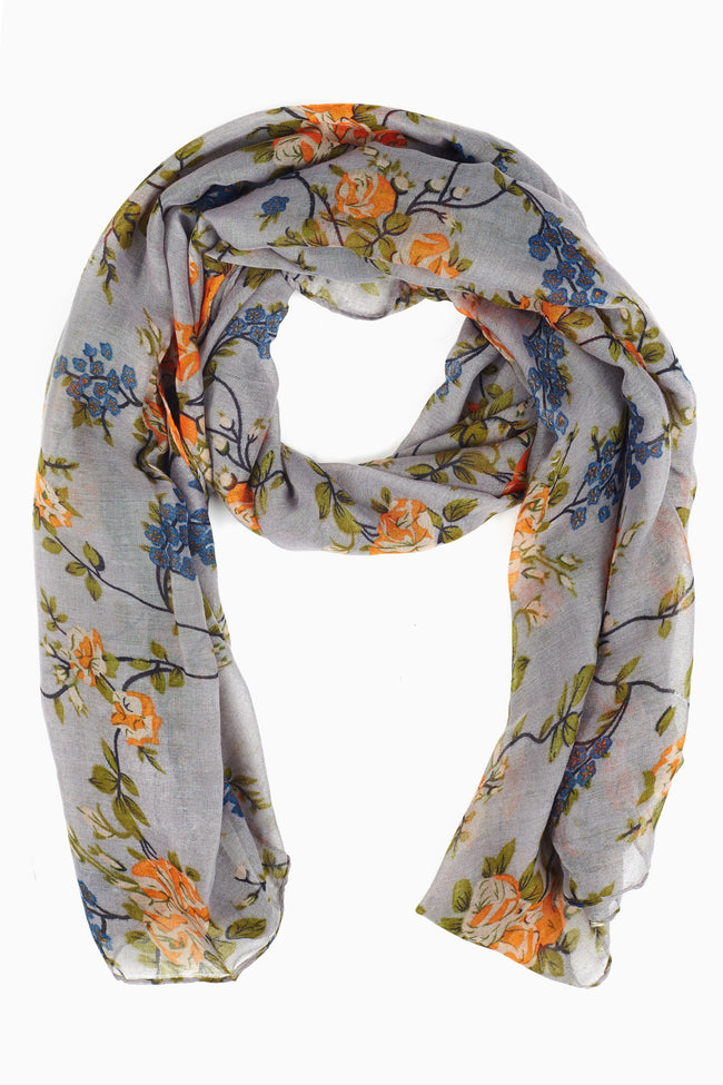 Grey Orange Floral Print Scarf