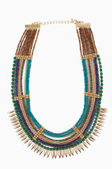 Blue Green Gold Beaded Spike Necklace/Earring Set