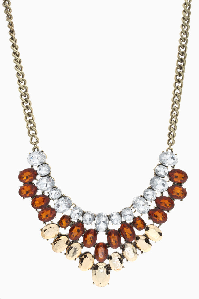 Brown Gold Silver Gemstone Necklace/Earring Set