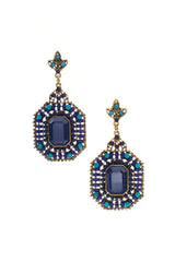 Blue Aqua Rhinestone Jeweled Drop Earrings