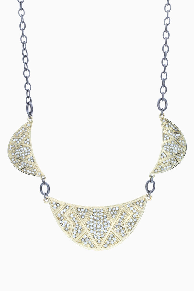Rhinestone Gold Plated Aztec Crescent Bib Necklace/Earring Set