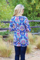 Royal Blue Multi-Colored 3/4 Sleeve Maternity Top
