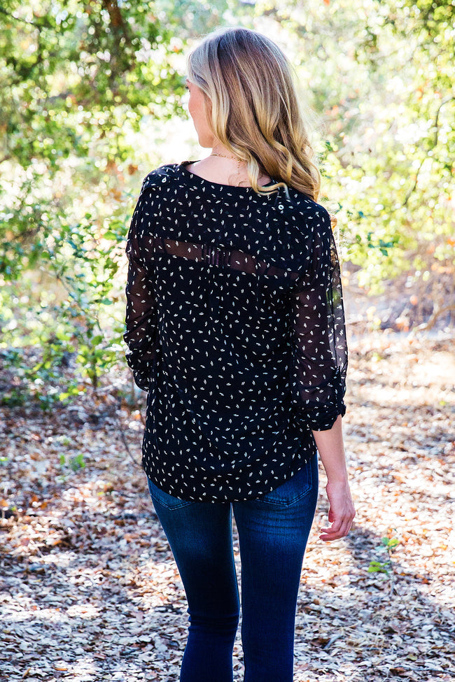 Black White Printed Button Accent Chiffon Blouse