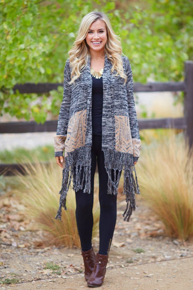 Black Mocha Printed Border Fringe Hem Knit Cardigan