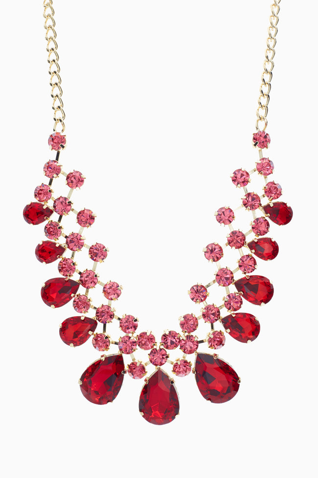 Red Pink Jeweled Bib Statement Necklace/Earring Set