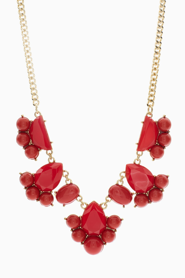 Gold Red Stone Bib Necklace/Earring Set