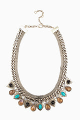 Silver Aqua Tribal Pendant Chain Bib Necklace/Earring Set