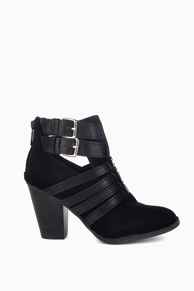 Black Suede Leather Accent Ankle Boot