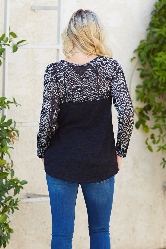 Black Ivory Printed Knit Maternity Top