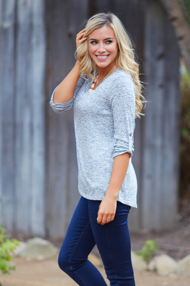 Grey Heathered Knit 3/4 Sleeve Top