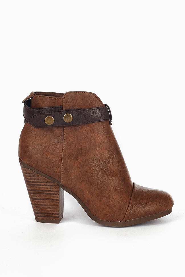 Tan Brown Buckle Strap Ankle Boot