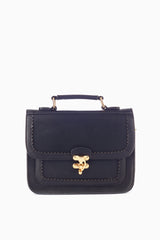 Black Eyelet Cutout Faux Leather Satchel