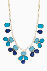 Shades of Blue White Gemstone Necklace/Earring Set