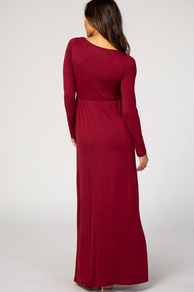 Burgundy Long Sleeve Basic Maternity Maxi Dress