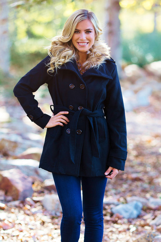 Black Fur Accent Coat