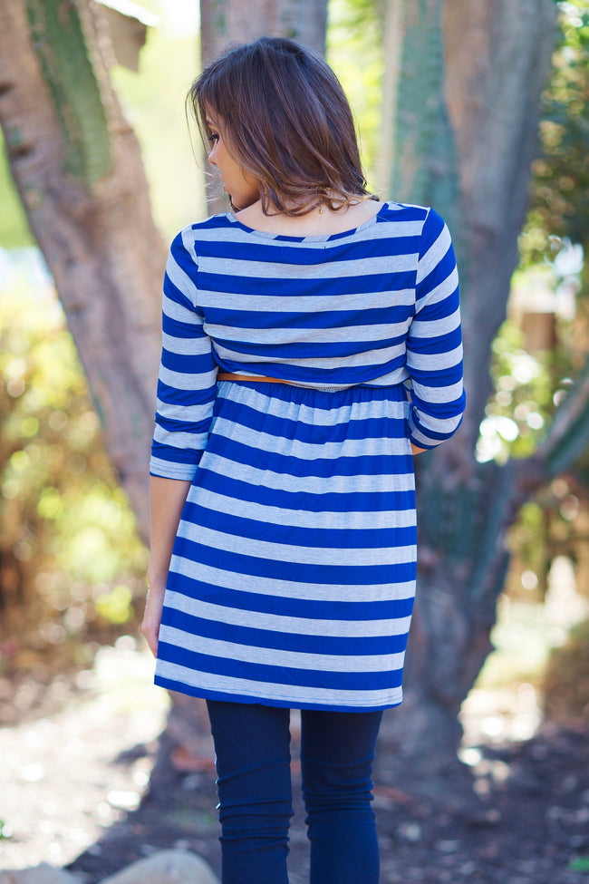 Royal Blue Grey Striped 3/4 Sleeve Belted Maternity Top