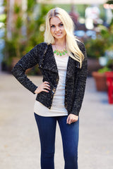Black Knit Studded Accent Cropped Jacket