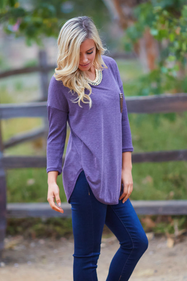 Purple Sequin Pocket Long Sleeve Top