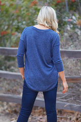 Navy Blue Sequin Pocket Long Sleeve Top