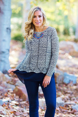 Ivory Navy Blue Sparkle Chiffon Accent Knit Sweater