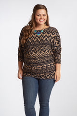 Mocha Black Printed Mesh Accent Sleeve Plus Size Maternity Top