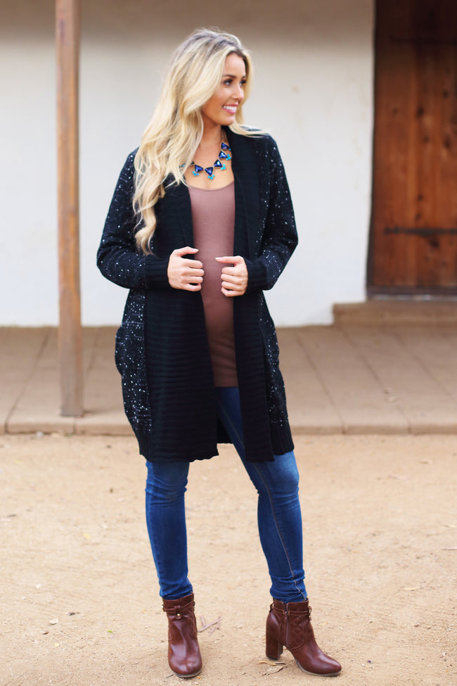 Black Flowy Front Knit Maternity Cardigan