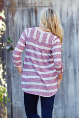 Red Beige Striped Knit 3/4 Sleeve Top