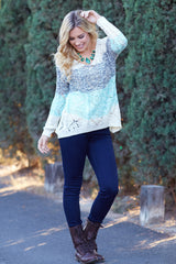 Aqua Black Ivory Colorblock Sparkle Open Knit Sweater