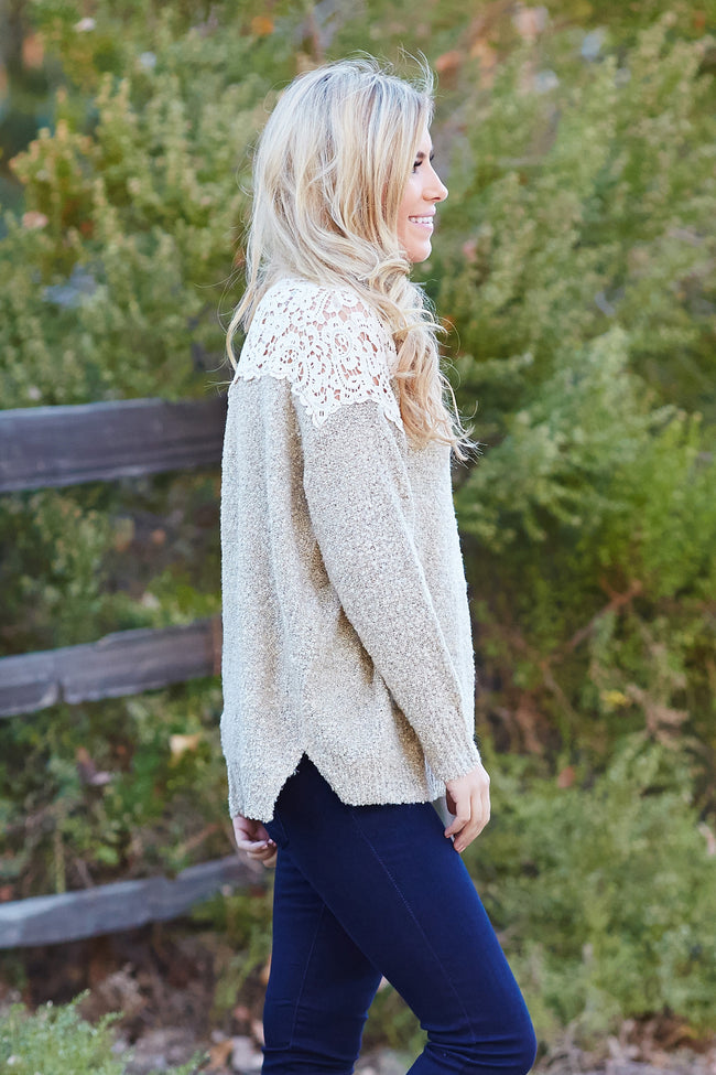 Mocha Sparkle Crochet Shoulder Knit Sweater