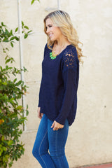 Navy Blue Sparkle Crochet Shoulder Knit Sweater