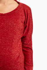 Red Silver Sparkle Dolman 3/4 Sleeve Maternity Top