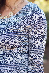 Navy Blue Ivory Printed 3/4 Sleeve Fitted Maternity Top