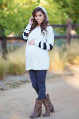 Cream Heathered Mesh Striped Sleeve Hooded Maternity Top