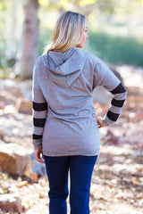 Grey Heathered Mesh Striped Sleeve Hooded Maternity Top