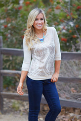 Beige Sequin Print Front Knit Sweater Top