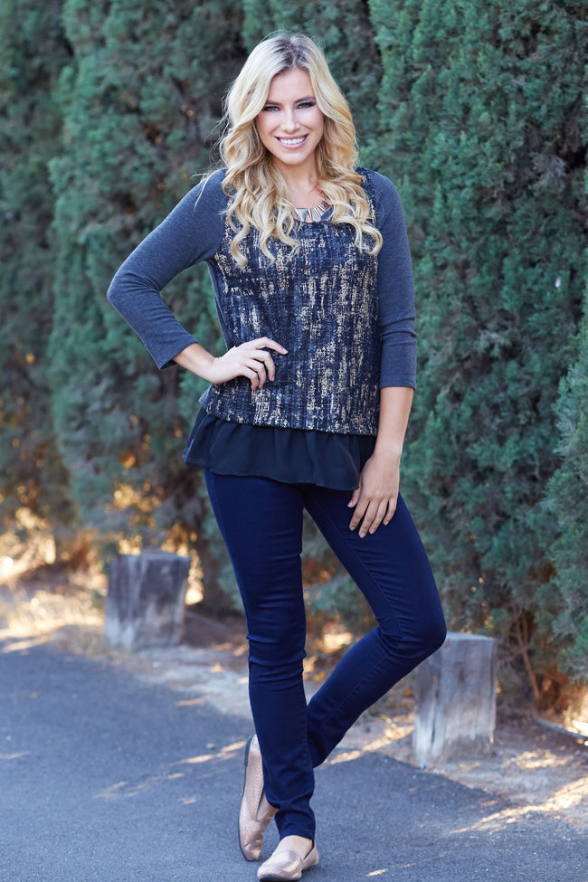Charcoal Black Printed Knit Front Chiffon Accent Top