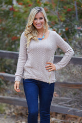 Mocha Cable Knit Zipper Accent Sweater