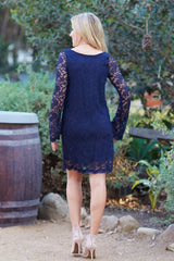 Navy Blue Lace Long Sleeve Dress
