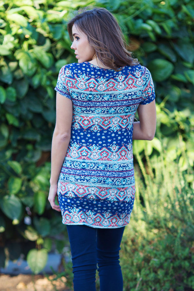 Navy Blue Multi-Colored Printed Pocket Front Fitted Maternity Top
