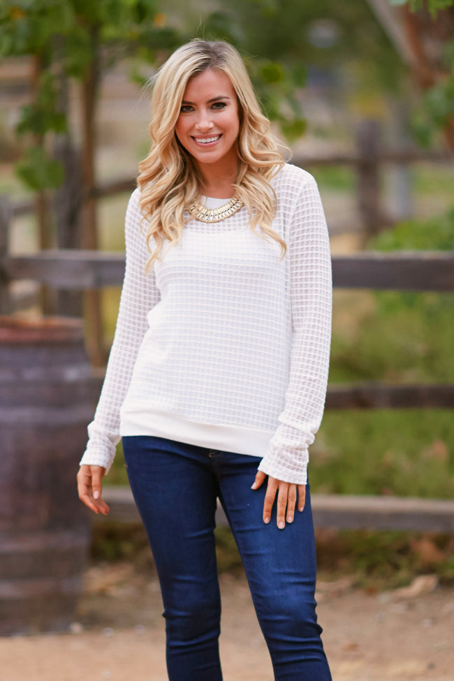 Ivory Basic Square Knit Sweater Top
