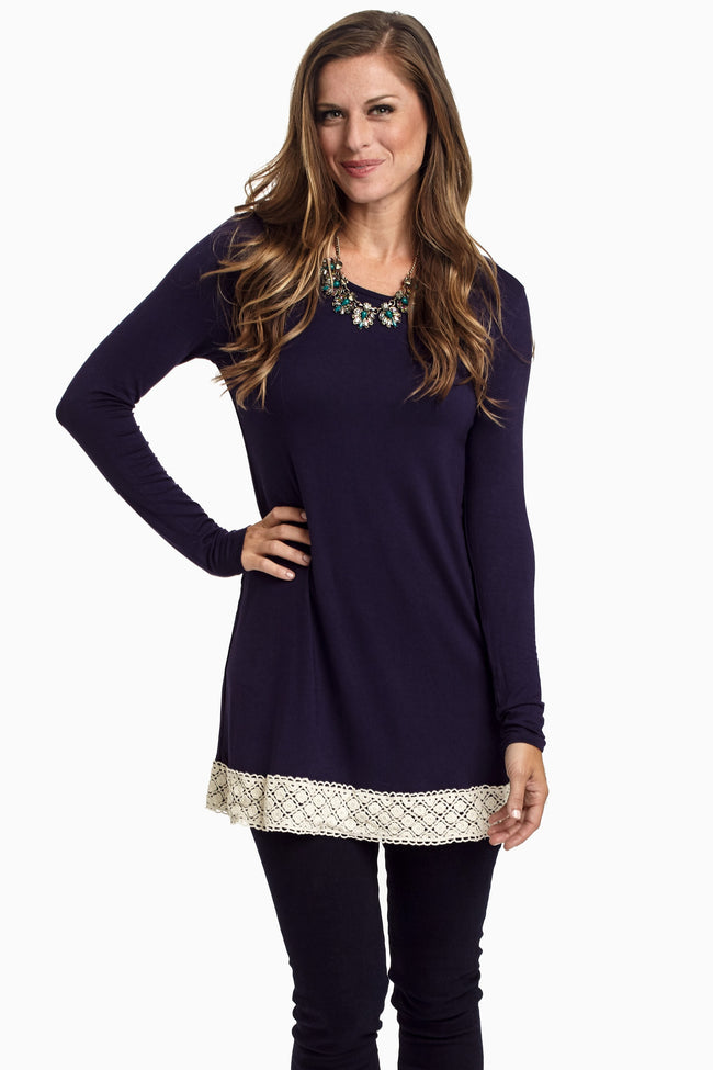 Navy Blue Crochet Trim Basic Tunic