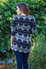 Black Grey Geometric Tribal Printed 3/4 Sleeve Fitted Maternity Top