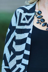 Grey Black Geometric Print Long Maternity Cardigan