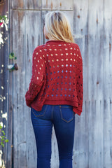 Burgundy Open Knit Zip Up Cardigan