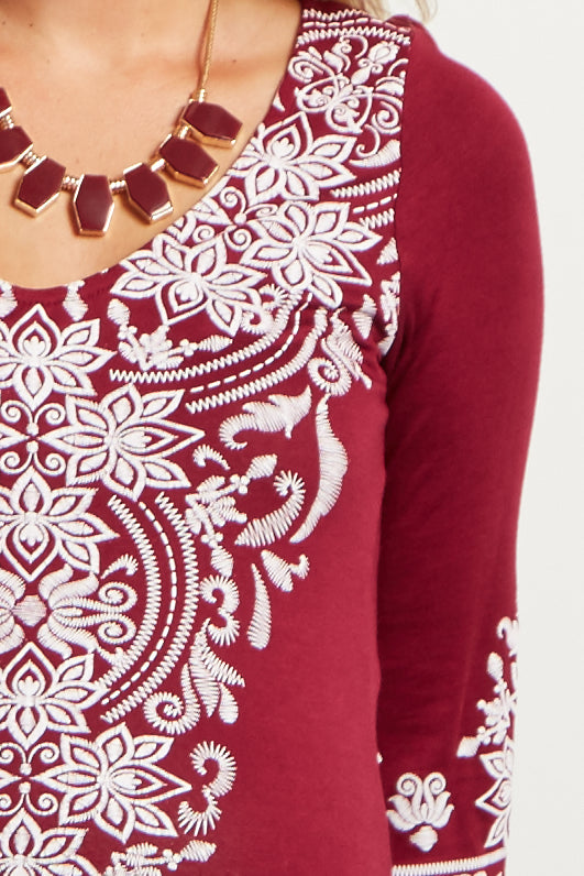 Burgundy Printed 3/4 Sleeve Maternity Tunic